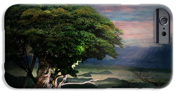 Mystical Landscape Mixed Media iPhone Cases - Tree Spirit iPhone Case by Terry Fleckney