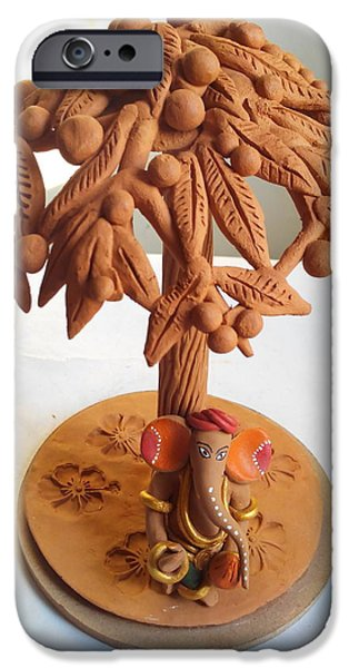 Food And Beverage Sculptures iPhone Cases - Tree With Fruits iPhone Case by Milind Raskar