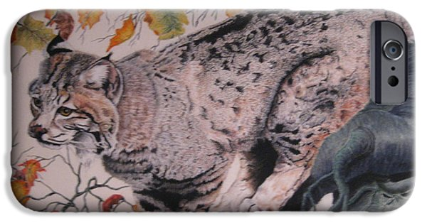 Bobcats Pastels iPhone Cases - Treed iPhone Case by John Huntsman