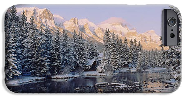 Reflections In River iPhone Cases - Trees Covered With Snow, Policemans iPhone Case by Panoramic Images