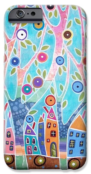 Landscape Acrylic Prints iPhone Cases - Trees Houses Landscape iPhone Case by Karla Gerard