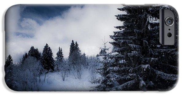 Snow iPhone Cases - Trees Mountains and More Trees iPhone Case by Miguel Winterpacht