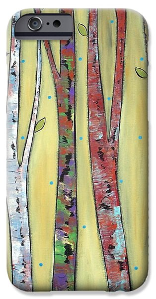 Trees On Yellow iPhone Case by Karla Gerard