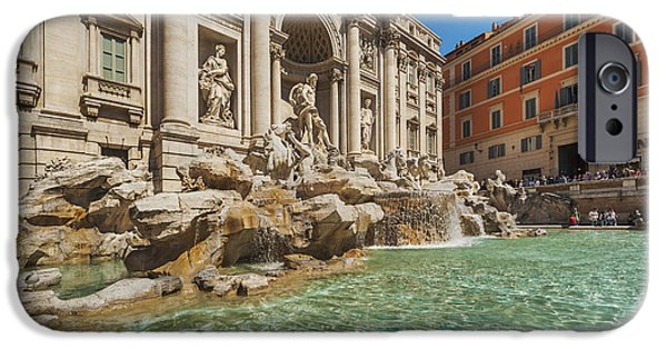 Fontain iPhone Cases - Trevi Fountain Rome iPhone Case by Gunter Kirsch