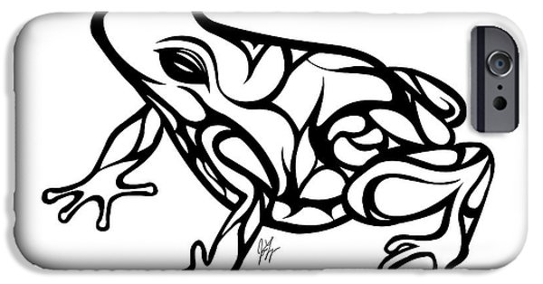 Amphibians Digital Art iPhone Cases - Tribal Ribbet  iPhone Case by Jamie Lynn