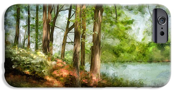 Suburban Digital Art iPhone Cases - Tridelphia Lake In May iPhone Case by Lois Bryan