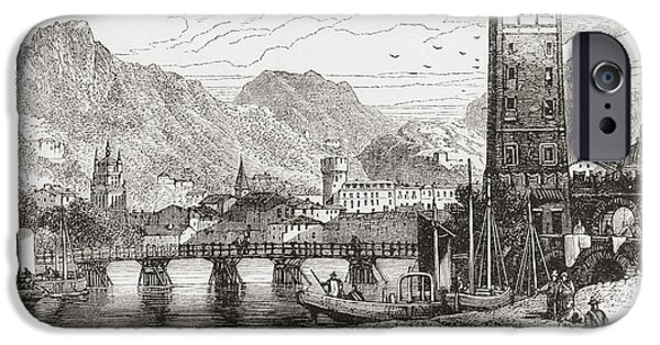 Switzerland Drawings iPhone Cases - Trient, Martigny, Valais, Switzerland iPhone Case by Ken Welsh