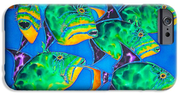 Triggerfish Print On Canvas iPhone Cases - Triggers iPhone Case by Daniel Jean-Baptiste