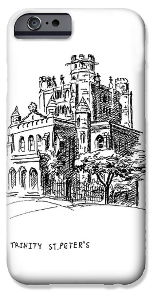 Location Drawings iPhone Cases - Trinity Episcopal Church iPhone Case by Masha Batkova
