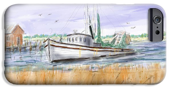 Shed Drawings iPhone Cases - Trips End - Shrimp Boat Art iPhone Case by Barry Jones