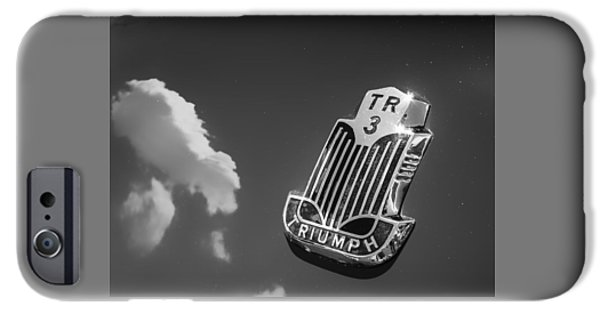 Antiques iPhone Cases - Triumph TR3 Hood with Clouds iPhone Case by Mary Lee Dereske
