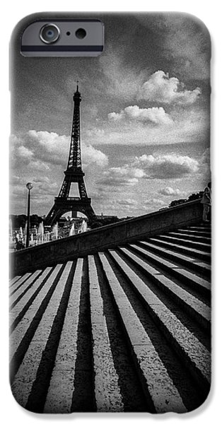 Monotone Pyrography iPhone Cases - Trocadero Eiffel tower and a man. iPhone Case by Cyril Jayant