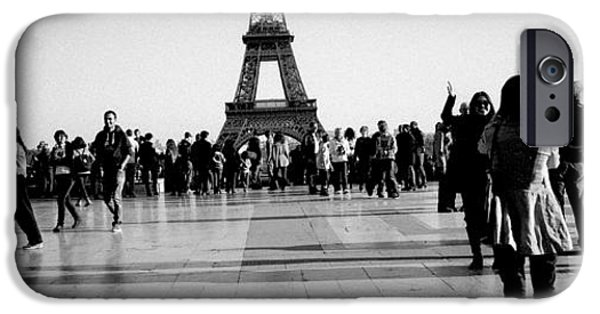 Panoramic Pyrography iPhone Cases - Trocadero in panoramic view . Paris. iPhone Case by Cyril Jayant
