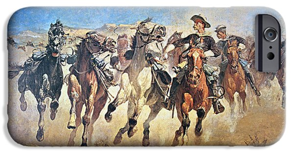 Sprint iPhone Cases - Troopers Moving iPhone Case by Frederic Remington