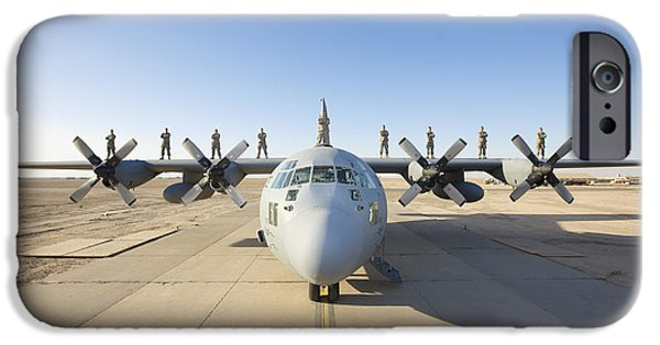 Iraq iPhone Cases - Troops Stand On The Wings Of A C-130 iPhone Case by Terry Moore