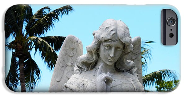 Cemetary iPhone Cases - Tropical Angel With Tear iPhone Case by Susan Vineyard
