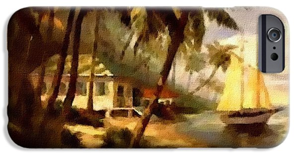 Business Pastels iPhone Cases - Tropical Beach Scene. H A iPhone Case by Gert J Rheeders