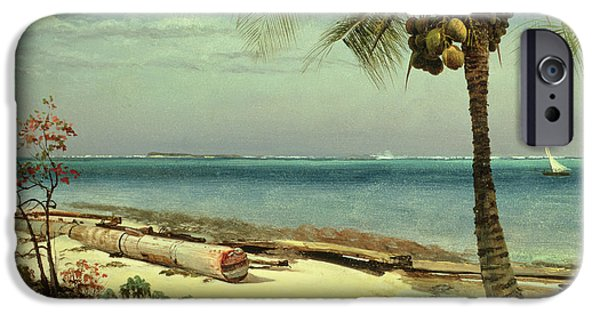 Sailing Paintings iPhone Cases - Tropical Coast iPhone Case by Albert Bierstadt