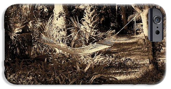 Garden Scene iPhone Cases - Tropical Hammock iPhone Case by Susanne Van Hulst