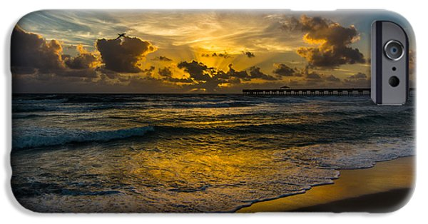 Flight iPhone Cases - Tropical Sunrise from Juno Beach, Florida iPhone Case by Andrew Savasuk