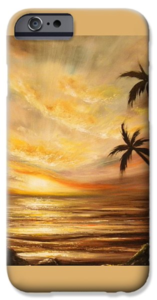 Sun Rays Paintings iPhone Cases - Tropical Sunset 64 iPhone Case by Gina De Gorna