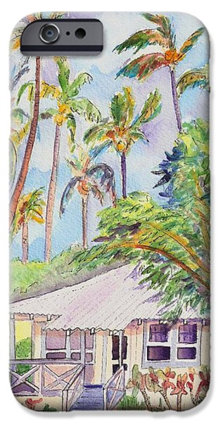 Bamboo House iPhone Cases - Tropical Waimea Cottage iPhone Case by Marionette Taboniar