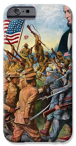 Ww1 iPhone Cases - True sons of freedom Vintage Poster iPhone Case by Carsten Reisinger