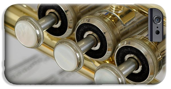 Celebrities Photographs iPhone Cases - Trumpet Valves iPhone Case by Frank Tschakert