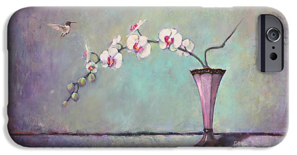 White Orchid iPhone Cases - Trumpet Vase and Orchid  iPhone Case by Lori  McNee