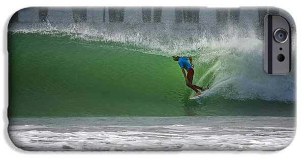 Surfer iPhone Cases - Tube Ride iPhone Case by Larry Marshall
