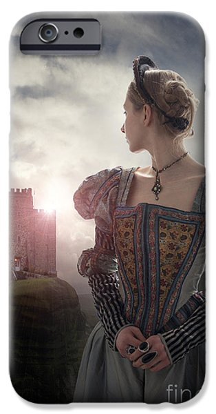 Duchess iPhone Cases - Tudor Woman Looking Back Towards A Medieval Castle iPhone Case by Lee Avison