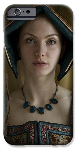 Duchess iPhone Cases - Tudor Woman Wearing An English Hood Headdress iPhone Case by Lee Avison