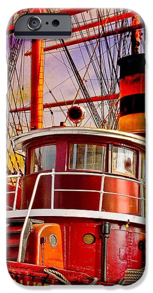 Tall Ship Digital Art iPhone Cases - Tugboat Helen McAllister iPhone Case by Chris Lord