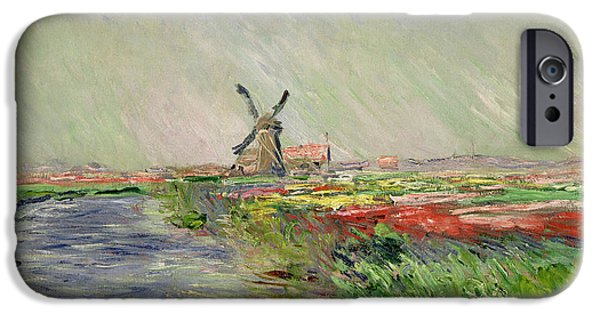 Holland Paintings iPhone Cases - Tulip Field in Holland iPhone Case by Claude Monet