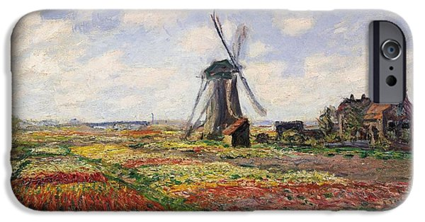 Holland Paintings iPhone Cases - Tulip Fields with the Rijnsburg Windmill iPhone Case by Claude Monet