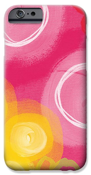 Pink Mixed Media iPhone Cases - Tulip Garden- abstract floral painting iPhone Case by Linda Woods
