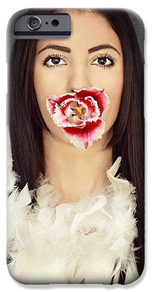 Model Pyrography iPhone Cases - Tulip girl iPhone Case by Aleksandra Nikolic