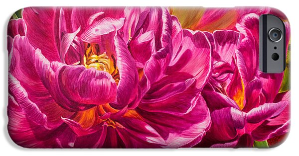 Chicago Paintings iPhone Cases - Tulipomania 8 Magenta Triumph iPhone Case by Fiona Craig