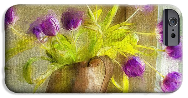 Interior Still Life Mixed Media iPhone Cases - Tulips Arrayed iPhone Case by Terry Rowe