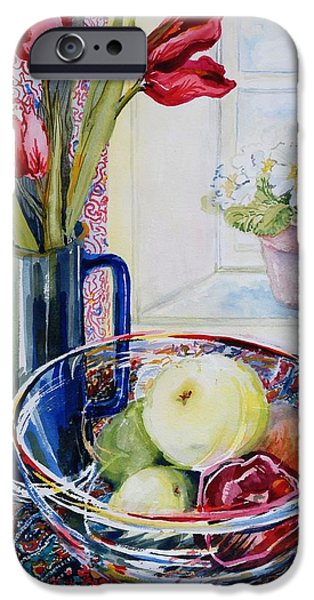 Still Life iPhone Cases - Tulips in a Jug with a glass bowl iPhone Case by Joan Thewsey