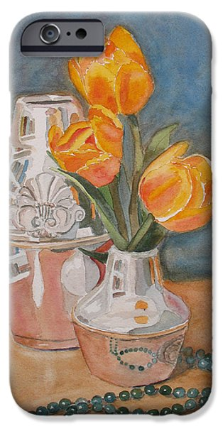 Floral Still Life Paintings iPhone Cases - Tulips Jade and Books iPhone Case by Jenny Armitage