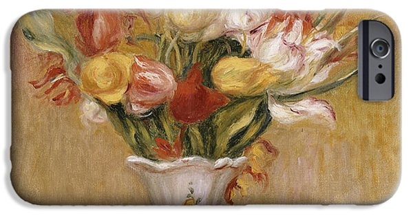 Leave iPhone Cases - Tulips iPhone Case by Pierre Auguste Renoir