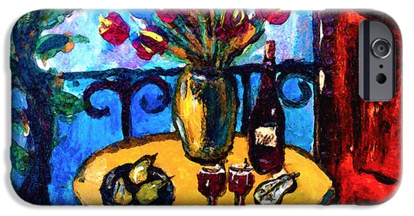 Floral Still Life Paintings iPhone Cases - Tulips Wine and Pears iPhone Case by Karon Melillo DeVega
