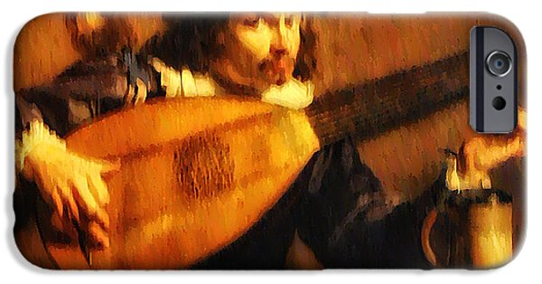 Lute Digital Art iPhone Cases - Tuning Up the Lute iPhone Case by Bill Cannon