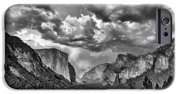 Cathedral Rock iPhone Cases - Tunnel View in Black and White iPhone Case by Rick Berk