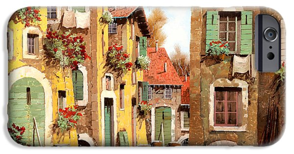Village Paintings iPhone Cases - Tuorlo iPhone Case by Guido Borelli