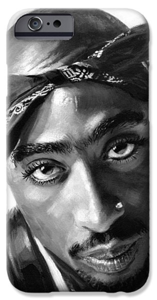 Hip-hop iPhone Cases - Tupac Shakur iPhone Case by Ylli Haruni
