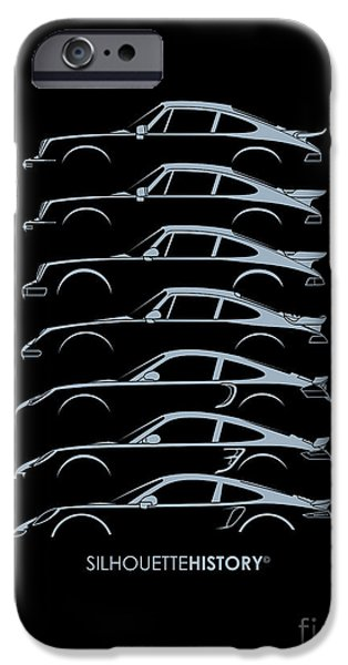 Boxer Digital Art iPhone Cases - Turbo Sports Car SilhouetteHistory iPhone Case by Gabor Vida