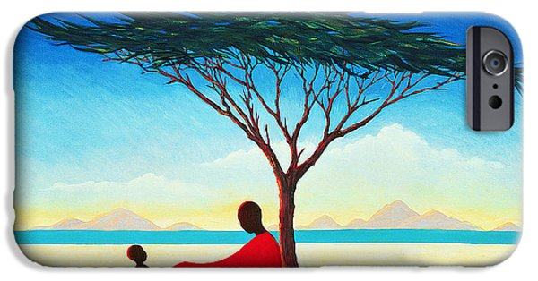 Calm Paintings iPhone Cases - Turkana Afternoon iPhone Case by Tilly Willis