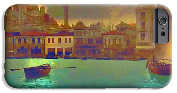 Sailing Paintings iPhone Cases - Turkish  Moonlight iPhone Case by Saiyyidah Seema  Z